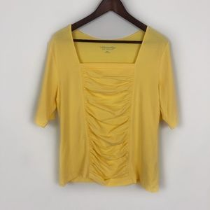 Soft Surroundings Tristan Yellow Lemon Ruched Top